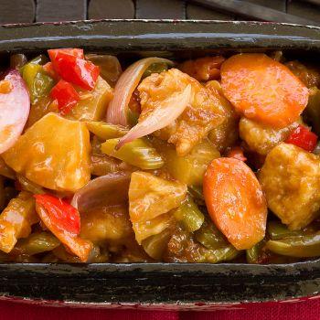 Γλυκόξινο χοιρινό με ανανά