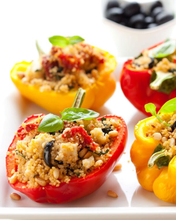 Πιπεριές γεμιστές με κουσκούς και φέτα