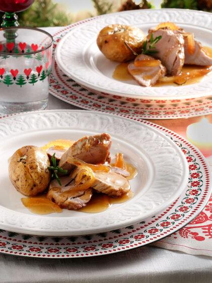 Ψαρονέφρι με πατάτες και σάλτσα με κυδώνια και κρασί